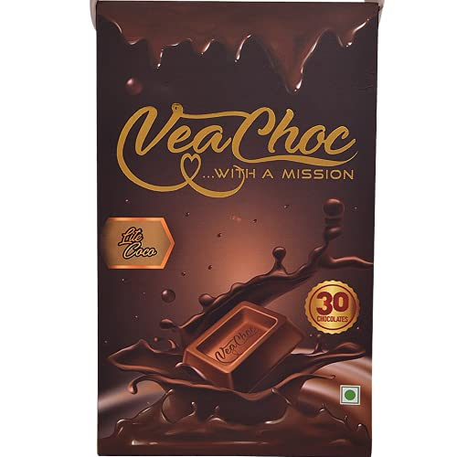 VeaChoc Iron Chocolates with Vitamin C and Blood Builder Supplement | Organic Health Supplements for Women Men and Kids with Iron Deficiency (LITE Cocoa)