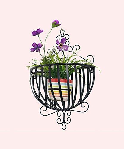 FPF Etagère de Fleur Style européen Fer Fleur étagères Mur de Balcon Suspendus Fleur Rack Semi-Rond Mur Fleur Pot Cadre/Plante Rack Porte-Bouteilles (Couleur : B)
