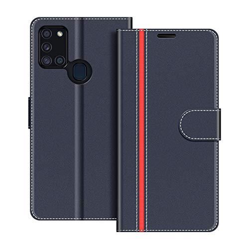 COODIO Handyhülle für Samsung Galaxy A21s Handy Hülle, Samsung Galaxy A21s Hülle Leder Handytasche für Samsung Galaxy A21s Klapphülle Tasche, Dunkel Blau/Rot