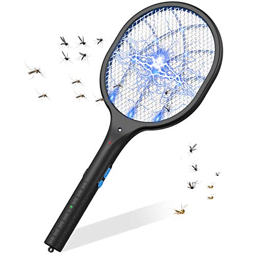 Bug Zapper Electric Fly Swatter Mosquito Killer Racket - Best for Indoor and Outdoor Pest Control, Powerful 3800V Grid, USB Rechargeable, LED Light, Safe to Touch with 5-Layer Safety Mesh