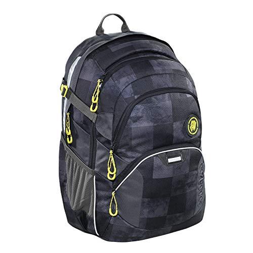 coocazoo Schulrucksack JobJobber Marmor Check, gelb-grau-schwarz, ergonomischer Tornister, höhenverstellbar mit Brustgurt und Hüftgurt für Jungen ab der 5. Klasse, 30 Liter