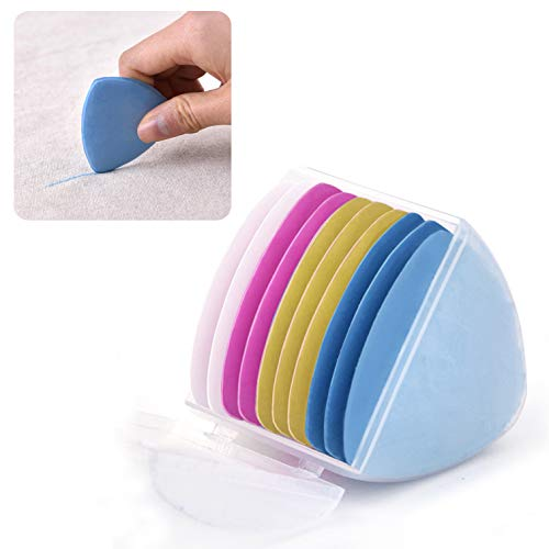 10 Pieces Triangle Tailor's Chalk for Fabric, Cloth Markers for Sewing Quilting Tailoring with Holder, 4 Colors