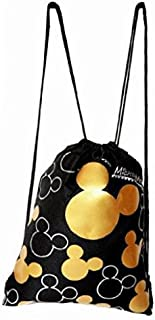 Drawstring Backpack Gym School Bag Authentic Licensed Disney PIXAR Nickelodeon Cartoon Character (Mickey Mouse Gold)