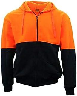 Fresh Idea Living Hi-Vis Hooded Safety Workwear Fleece-Lined Fleecy Full Zip Jumper Hoodie Jacket