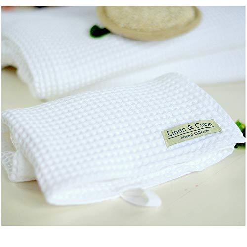 Linen & Cotton Waffel Tuch Saunatuch Strandtuch, Handtücher/Badetücher/Duschtücher/Gästehandtücher Leila, 100% Baumwolle - 100 x 140cm (Weiß/Weiss)