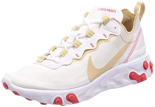 Nike W React Element 55, Scarpe da Atletica Leggera Donna, Multicolore (White/Desert York/White/Ember Glow 000), 39 EU