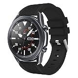 SPGUARD Correa Compatible con Correa Samsung Galaxy Watch 3 45mm,Pulsera de Repuesto Deportiva de Silicona Suave para Samsung Galaxy Watch 3 45mm(Negro)