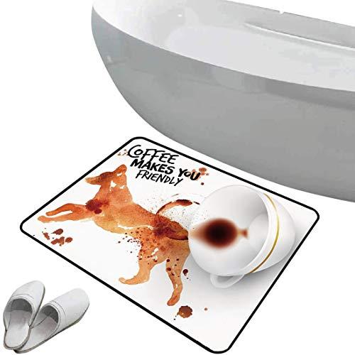 Alfombra de baño Antideslizante Arte del café Suave Antideslizante Animal amistoso Saltando Perro Acuarela Salpicaduras café Gota Arte,Quemado Siena Negro Blanco para Ducha Felpudo Dormitorio Sala de