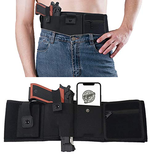 Belly Band Holster for Concealed Carry, Breathable NeopreneGun Holster for Women and Men, Right Hand Waistband Holster for Pistols and Revolvers, Belly Holster with Extra Magazine Pouch & Card Pocket