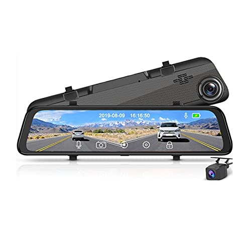 Flashing Super HD 2K 1440P Dash CAM Cámara DVR cámara grabadora de Video Retrovisor Mirror Visión Nocturna (Color : Add 64GB Card, Size : H166 with Camera)