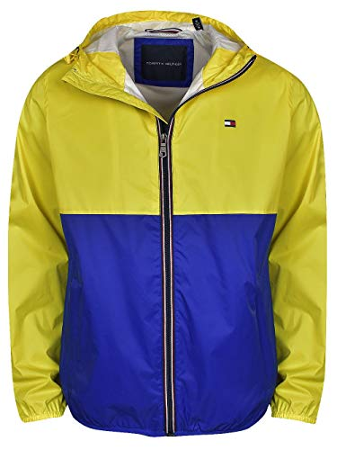 Tommy Hilfiger Men's Lightweight Active Water Resistant Hooded Rain Jacket, Acid Yellow/Blue, Medium
