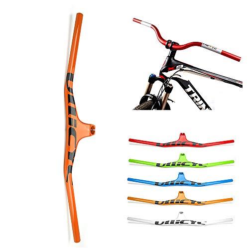 Yajun MTB Carbon Bicycle Manillar 620/720/760 / 800MM Integratived Colorful Strong Rise Bar para Mujeres Hombres,Orange,800mm