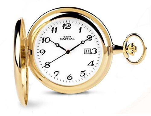 Reloj de bolsillo Capital, doble caja, acero, laminado, cuarzo TX165*LO