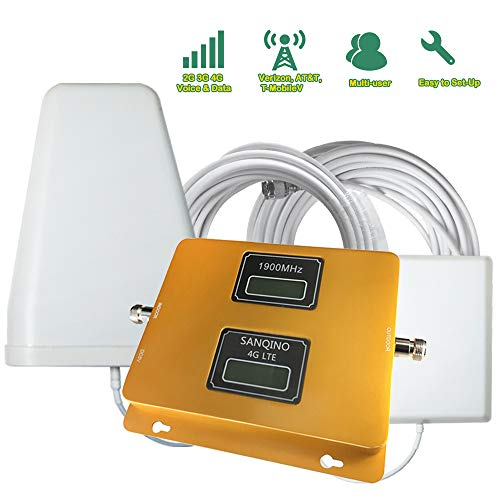 SANQINO Cell Phone Signal Booster for 2G 3G 4G LTE AT&T,Verizon,T-Mobile, Daul Band 2/5 850/1900Mhz, Repeater Amplifier Kit for Home and Office