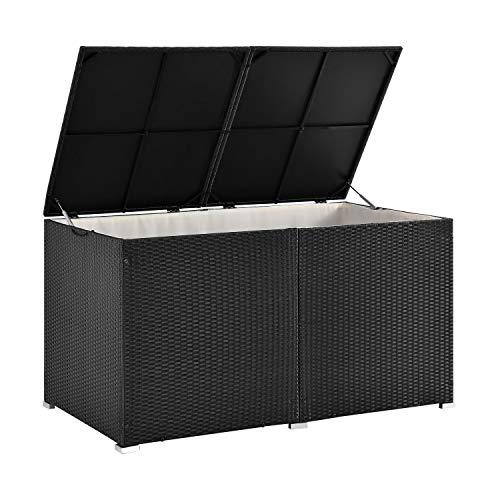 ArtLife Polyrattan Auflagenbox Ikaria 950 L mit Deckel mit Hubautomatik & Innenplane – Kissenbox 145 x 82 x 79 cm für Garten – Gartenbox schwarz