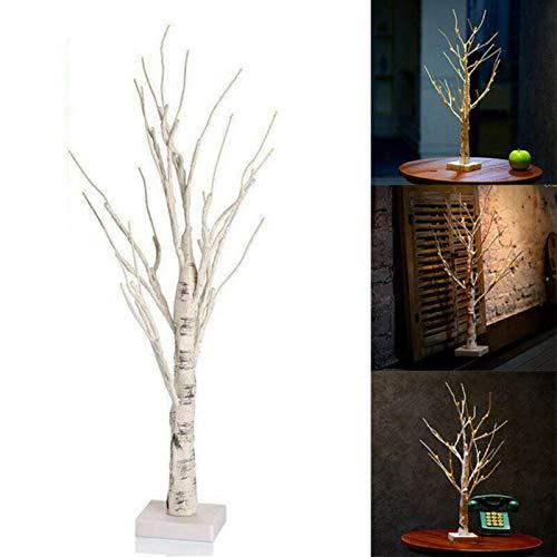 Árbol de Pascua Blanco de 60 cm con Luces Huevos de Pascua Decorativos para Adornos Colgantes Decoraciones de lámpara de árbol de ramitas 24Luces Blancas