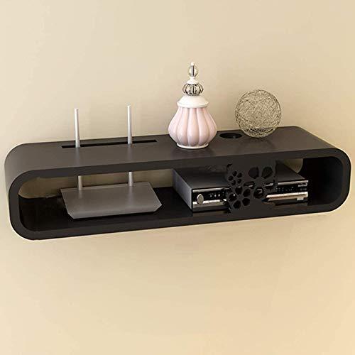 QSLS Soporte de Pared Mueble de TV Soporte de TV Estante Decodificador Estante Consola de TV Unidad de Almacenamiento Organizador Rack de DVD Caja de Cable,Negro
