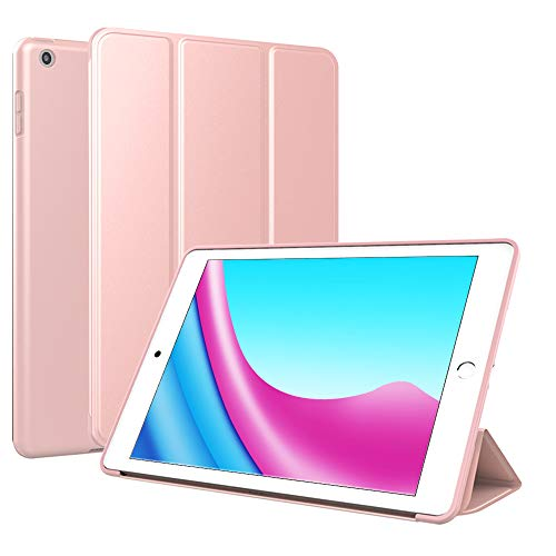 BLITY Case for New iPad 9.7\' 2017/2018, PU Leather Trifold Stand Slim Fit Smart Cover with Soft TPU Back Case [Auto Sleep/Wake] for Apple iPad 9.7 inch 2018 2017 (Rose Gold)