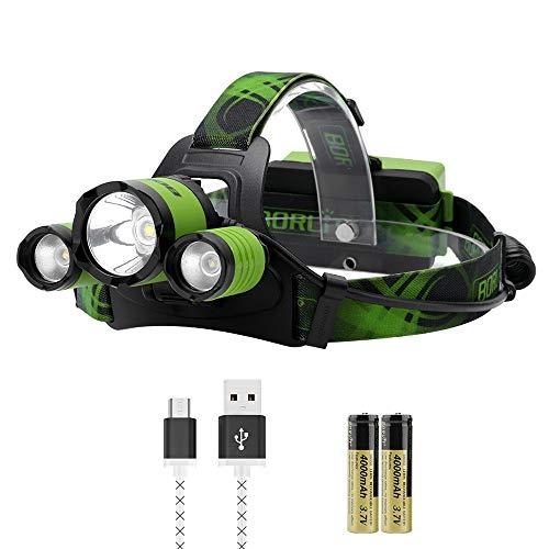BORUiT Upgrated B21 - Linterna frontal con 3 LED micro USB, 4 modos con zoom, 6000 lúmenes con silbato SOS para senderismo, camping, correr, baterías PCB 18650 incluidas (verde)