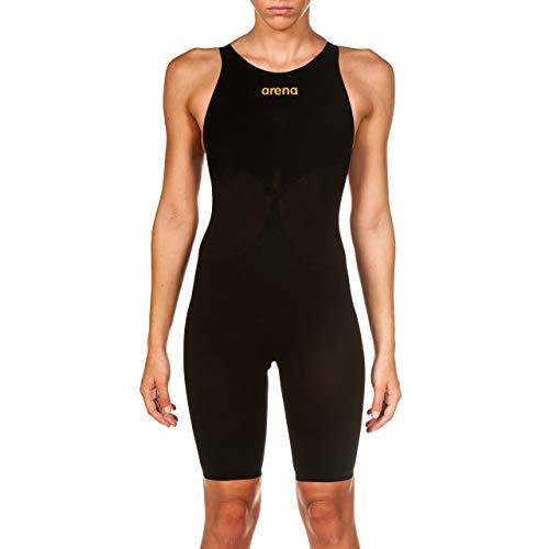 Arena Powerskin Carbon Air² Women's Racing Swimsuit, Open Back, Black/Black/Gold, 24