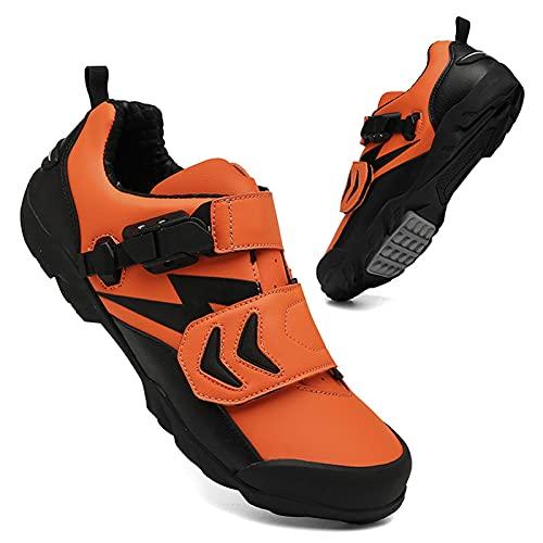 BSTL Zapatillas De Ciclismo De Carretera para Hombres y Mujeres, Sin Candado Zapatillas De Bicicleta De Montaña Zapatillas con Correa De Hebilla Zapatillas De Bicicleta MTB Antideslizantes,Orange-38