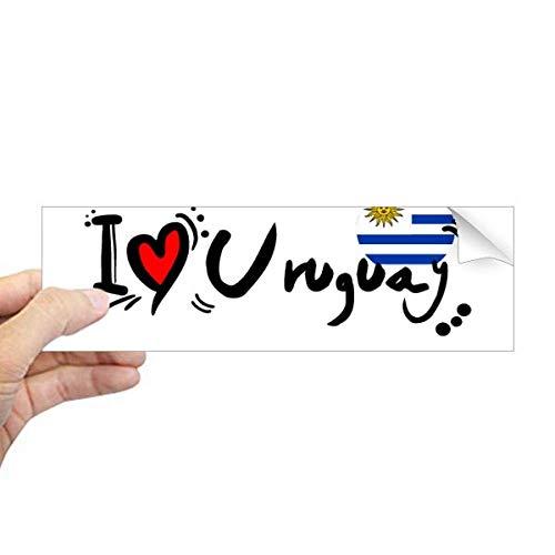 DIYthinker Ik hou van Uruguay woord vlag liefde hart illustratie rechthoek bumper Sticker Notebook Window Decal