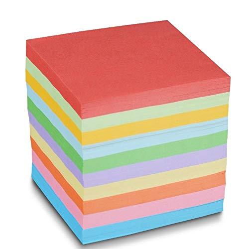 Cuadrados coloridos de origami, papel hecho a mano miles de grullas de papel materiales de origami, papel doblado multicolor-7.5 * 7.5cm diez colores 1000 hojas