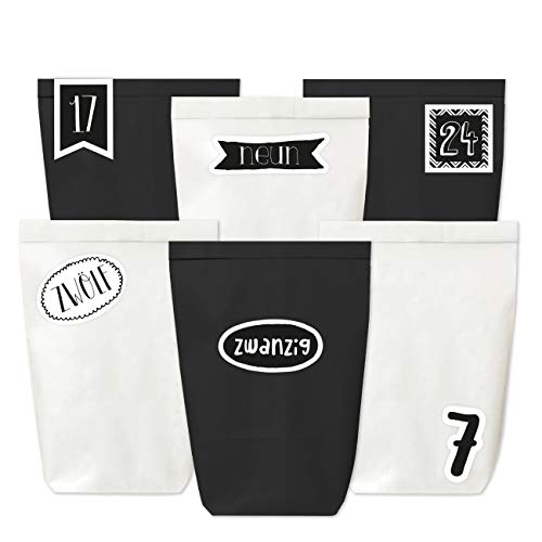 Adventskalender om te vullen – 24 papieren zakken in zwart en wit en 24 stickers met cijfers – om zelf te maken en te vullen – mini-set – Kerstmis 2019