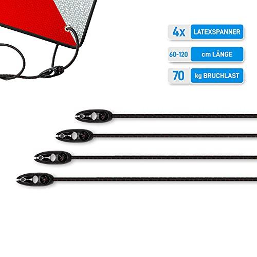 OSQAR® Elastische Latexspanner 4stk. 60cm, Elastische Spanngurte, Multifunktional, zur Befestigung für Warntafel Italien und Spanien, Gepäckspanner Fahrrad, Spanngurt elastisch für Warntafel Wohnmobil