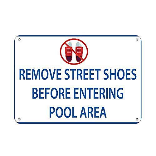 JOHUA Remove Street Shoes Before Entering Pool Area Pool Blechschilder Warnschild Metallposter Eisen Kunst Retro Zeichen Promi Malerei Gebäude Garten Bauernhof Cafe Bar als Geschenk
