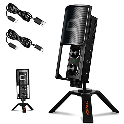 USB Microphone, Comica STM-USB Cardioid Condenser Microphone with Tripod Stand for USB/Type-C Phone,Computer, Laptop,Studio Recording Microphone for Streaming Podcasting Gaming etc.