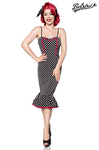 Belsira Rockabilly 50s Dames Retro 1950er Vintage Jurk Polka Dots Party Jurk 34-46 - Zwart/Wit, XX-Small