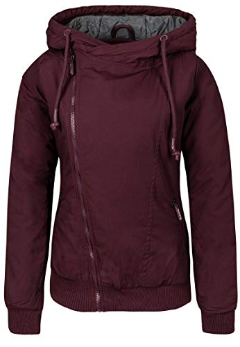 Sublevel Damen Winter-Jacke mit Kapuze warm gefüttert Dark-red XL