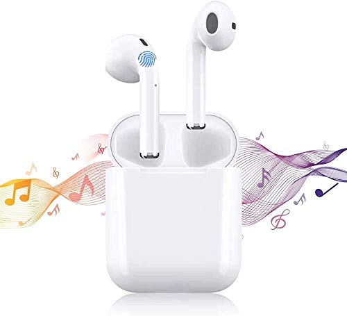 Auricolare Bluetooth senza fili,Cuffie Bluetooth touch,24h Playtime 3D stereo HD Cuffie Wireless, Binaurale Call,Associazione popup automatica,Con Scatola di Ricarica,IPX7 impermeabile