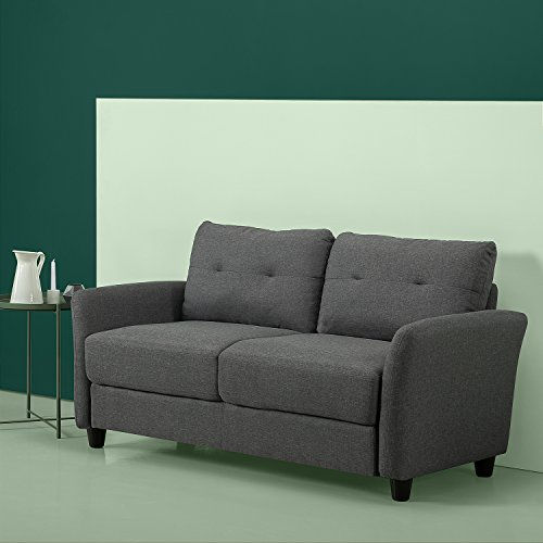 Zinus Contemporary Upholstered 62.2in Sofa Couch/Loveseat, Dark Grey