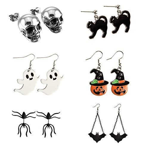 TUPARKA 6 pares de aretes de halloween, calabaza esqueleto cráneo cabeza murciélago araña fantasma gato negro encanto aretes de oreja conjunto de joyas decoraciones de fiesta de halloween