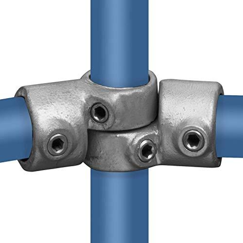 KLEMP Codo, 85-135°, conexión de tubería, ajustable a ambos lados, hierro fundido maleable, galvanizado en caliente, incluye tornillos tipo 49C - 33,7 mm / 1