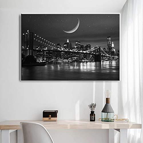 Póster moderno en blanco y negro de la ciudad de Nueva York con el puente de Manhattan, pintura en lienzo, imagen mural para sala de estar, impresión 50x70CM sin marco