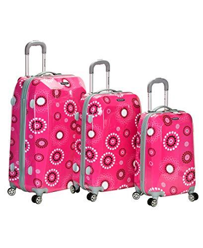 Rockland Vision Hardside Spinner Wheel Luggage, Pink pearl, 3-Piece Set (20/24/28)