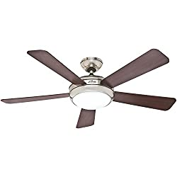 Hunter 59049 Palermo 52-Inch Brushed Nickel Ceiling Fan with Five CherryMaple Blades