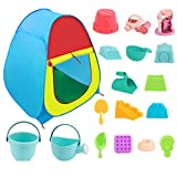 Kids Beach Sand Toys Set with Pop-up Tent, ColorfulSand Castle Molds,Waterwheel,Beach Buggy,Bucket, Shovels,Other Tools Kit for Toddlers Kids Boys Girls Summer or Winter Indoor Outdoor Toy Gift.