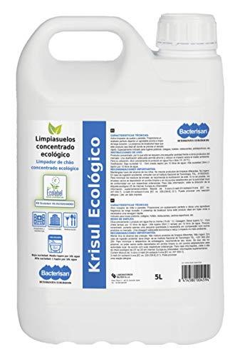 BACTERISAN Krisul Ecológico 5 L, Limpiador Profesional, Fregasuelos Concentrado y Perfumado 5 Ml, Blanco, Limón