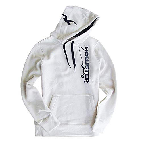 Hollister Men's Graphic Soft Fleece Hoodie (Extra Small, White Print Logo Pullover)
