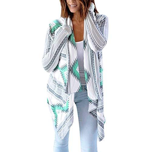 Clemunn Damen Strickjacke Geometric Print CardiganTop Strickjacke Bluse Kurzarm Bluse top Cardigan Pullover Sweater unregelmäßige Strickjacke Jacke Cardigan Strickwaren Mantel