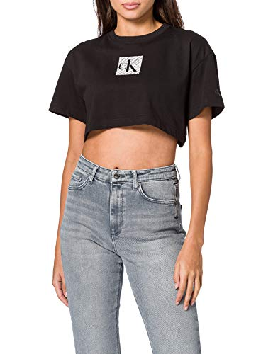 Calvin Klein Jeans Hologram Logo Crop tee Cuello extendido, CK Negro, XS para Mujer