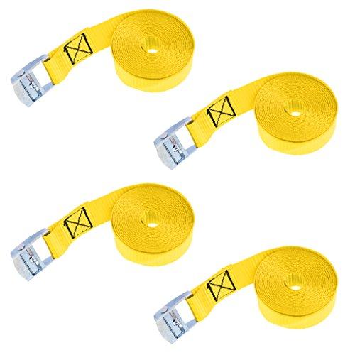 F Fityle 4pcs Set de Correa de Amarre con Hebilla de Leva para Atar Kayak Tabla de Surf en Portaequipaje Remolque - Amarillo, 4 Piezas