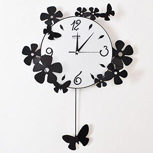 horloge murale CivilWeaEU- Iron Butterfly Mute Personnalisée Art Salon Horloge Mode Creative Quartz Clock