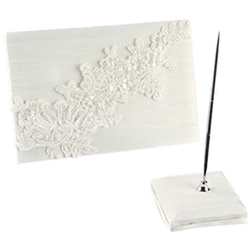 David's Bridal Sea of Petals Guest Book with Pen Style DB94GBP, Ivory