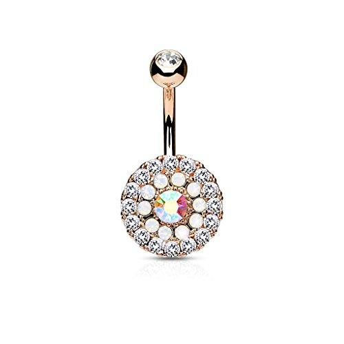 Kultpiercing - Bauchnabelpiercing Schmuck Bananabell Barbell Piercing Kristall Opal Rund - Rosegold