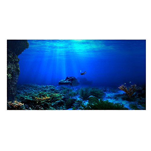 Aquarium Hintergrund Aquarium Dekorationen Bilder 3D Effekt PVC Adhesive Poster Unterwasserwelt Hintergrund Dekoration Papier Cling Decals Aufkleber(122x46cm)